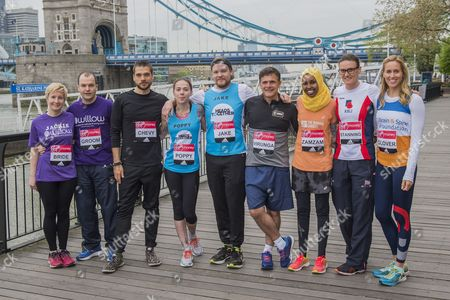 Bride and Groom Jackie Scully and Duncan Sloan, Chevy, Poppy, Jake, Virunga, ZamZam, Heather Stanning and Helen Glover - special runners with a #ReasonToRun in the 2017 Virgin Money London Marathon