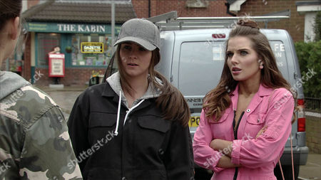 Rosie Webster, as Played by Helen Flanaghan, and Sophie Webster, as Played by Brooke Vincent, Finds Leah, as Played by Molly McGlynn, Skulking Outside no.4. Leah Makes Out She Wanted to Check Sally Hadn't had Any More Messages From Her Step-Mum. (Ep 9151 - Wed 26 Apr 2017)