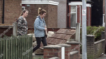 Rosie Webster, as played by Helen Flanaghan, stakes out Leah's, as played by Molly McGlynn, house. When she emerges with her step-mum, Rosie's stunned to realise it's Gina Seddon, as played by Connie Hyde, Sally's sister!. (Ep 9152 - Fri 28 Apr 2017)