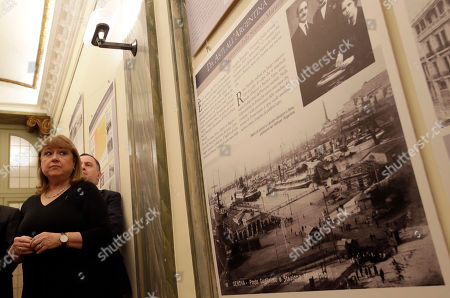 Argentine Foreign Minister Susana Malcorra attends an exhibition on the migration of Italians to Argentina, including Pope Francis' family, at the Italian-Latin American Institute, in Rome