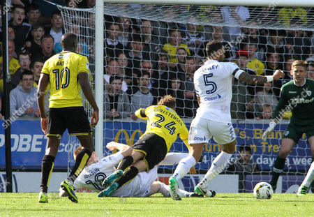 Lasse Vigen Christensen of Burton Albion is brought down by Pontus Jansson of Leeds United, during the Championship match between Burton Albion and Leeds United at Pirelli Stadium on April 22, 2017 in Burton on Trent, England. (Photo by David Linney)