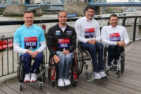 David Weir (Brisith), Marcek Hug (Switzerland), Ernst van Dyk (South Africa) and Kurt Fearnley (Australia) (l to r). Photocall with London Marathon elite para athletes taking part in the World Para Athletics Marathon World Cup.