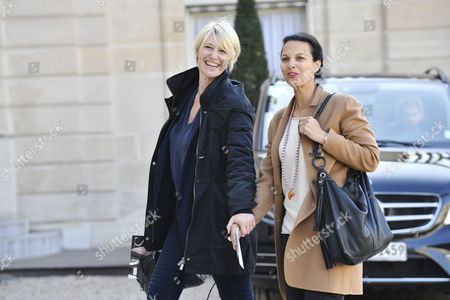 French presenter Maitena Biraben and French journalist Isabelle Giordano arrives at the Elysee Palace to attend a ceremony that decorates Microsoft Co-founder and philanthropist Bill Gates and his wife Melinda Gates, Co-Chair of the Bill and Melinda Gates Foundation, to receive the French Legion of Honor medal at the Elysee Palace, in Paris, France, 21 April 2017.