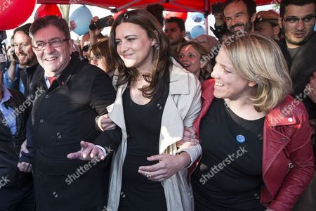(L-R) Podemos leader Pablo Iglesias, French presidential election candidate for the far-left coalition La France insoumise Jean-Luc Melenchon, member of the Portuguese Left block Marisa Matias and French left-wing politician Danielle Simonnet arrive for a meeting of the candidate in Paris, France, 21 April 2017. France holds the first round of the 2017 presidential elections on 23 April 2017.