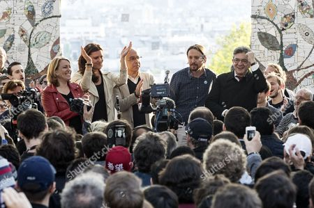 (L-R) French left-wing politician Danielle Simonnet, member of the Portuguese Left block Marisa Matias, Podemos leader Pablo Iglesias and French presidential election candidate for the far-left coalition La France insoumise Jean-Luc Melenchon deliver a speech during a meeting of the candidate in Paris, France, 21 April 2017.