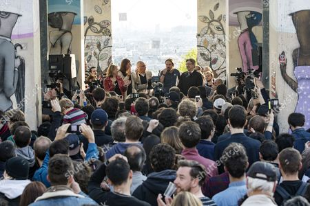 (L-R) French left-wing politician Danielle Simonnet, member of the Portuguese Left block Marisa Matias, Podemos leader Pablo Iglesias and French presidential election candidate for the far-left coalition La France insoumise Jean-Luc Melenchon deliver a speech during a meeting of the candidate in Paris, France, 21 April 2017. France holds the first round of the 2017 presidential elections on 23 April 2017.