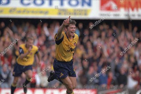 Arsenals Steve Hughes Celebrates.