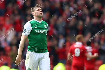 Grant Holt of Hibernian dejected during the William Hill Scottish Cup Semi Final match between Hibernian and Aberdeen played at Hampden Park, Glasgow on 22nd April 2017