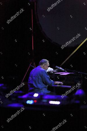 Roger Eno on stage at Royal Festival Hall London, during The ORb show 22/04/17