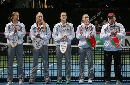 Belarussian Fed Cup team tennis players (L-R) Vera Lapko, Olga Govortsova, Aryna Sabalenka, Aliaksandra Sasnovich and team manager Eduard Dubrou before their tennis World Group semi finals in Fed Cup 2017 between Belarus and Switzerland in Minsk, Belarus, 22 April 2017.