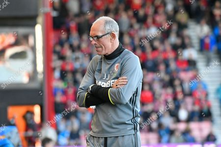 Middlesborough assistant head coach Joe Jordan looks glum as he turns away from the pitch as full time approaches during the Premier League match between Bournemouth and Middlesbrough at the Vitality Stadium, Bournemouth