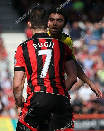 Fabio Da Silva of Middlesbrough clashes with Marc Pugh of Bournemouth   during the Premier League match between Bournemouth and  Middlesbrough  played at Vitality Stadium  , Bournemouth    on 22nd April  2017