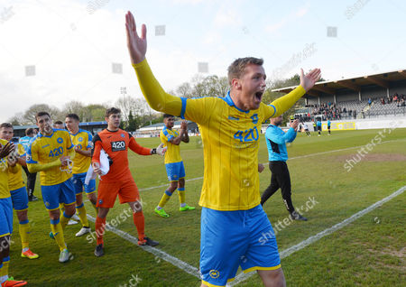 Ben Gerring Of Torquay United celebrates after their 2-1 win during the National League match between Dover Athletic and Torquay United at the Crabble Athletic Ground, Dover, Kent on April 22.
