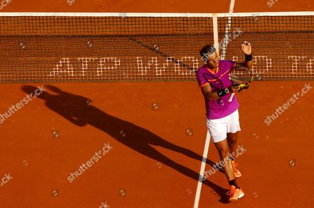 Rafael Nadal of Spain thanks the crowd on Court Rainier III at the Monte-Carlo Rolex Masters, Monte-Carlo, France on Saturday, April 22nd, 2017