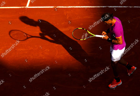 Rafael Nadal of Spain adjusts his grip on Court Rainier III at the Monte-Carlo Rolex Masters, Monte-Carlo, France on Saturday, April 22nd, 2017