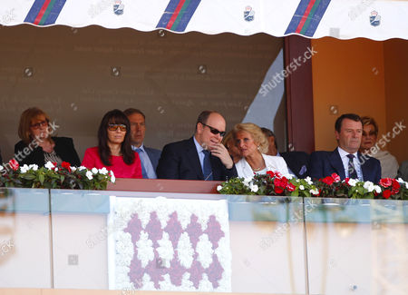 The Chairman of The All England Club, Philip Brooks, and his wife talk to Prince Rainier in the Royal Box on Court Rainier III at the Monte-Carlo Rolex Masters, Monte-Carlo, France on Saturday, April 22nd, 2017
