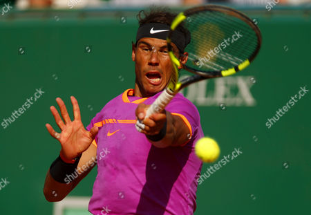 Rafael Nadal of Spain in action on Court Rainier III at the Monte-Carlo Rolex Masters, Monte-Carlo, France on Saturday, April 22nd, 2017