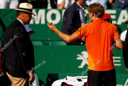 David Goffin of Belgium agues with the umpire on Court Rainier III at the Monte-Carlo Rolex Masters, Monte-Carlo, France on Saturday, April 22nd, 2017