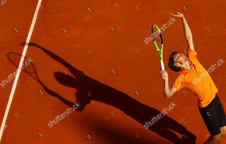 David Goffin of Belgium in action on Court Rainier III at the Monte-Carlo Rolex Masters, Monte-Carlo, France on Saturday, April 22nd, 2017