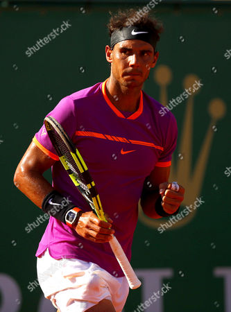 Rafael Nadal of Spain celebrates on Court Rainier III at the Monte-Carlo Rolex Masters, Monte-Carlo, France on Saturday, April 22nd, 2017