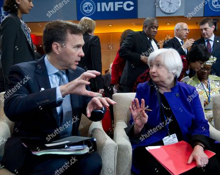 Bill Morneau, Janet Yellen Canadian Finance Minister Bill Morneau, left, speaks with Federal Reserve Chair Janet Yellen during the International Monetary and Financial Committee (IMFC) conference at World Bank/IMF Spring Meetings in Washington