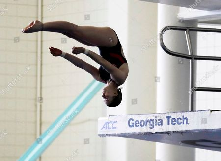 Tarrin Gilliland takes a practice dive during the U.S. Diving Synchronized National Championships at Georgia Tech in Atlanta. These days, the pool deck seems a little empty for the U.S. diving team as David Boudia, the stalwart of the American program, takes some time off. There's several promising youngsters though working their way up through the system, most notably 14-year-old Gilliland