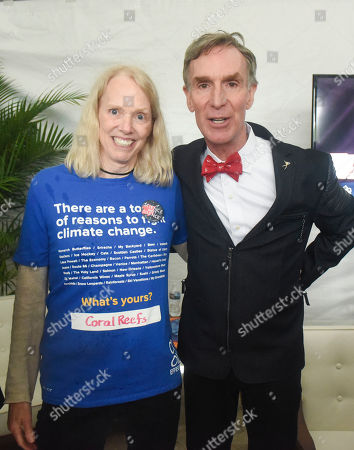 Bill Nye, Dee Lawrence Cool Effect co-founder Dee Lawrence meets with Bill Nye after they addressed the crowd at March for Science, in Washington