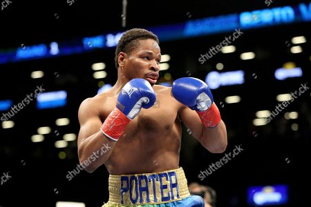 Shawn Porter in action against Andre Berto during their welterweight fight on in Brooklyn, NY. Porter won via 9th round TKO
