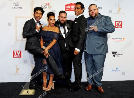 The cast of 'Cleverman' (L-R) Australian actors Hunter Page-Lochard, Rarriwuy Hick, Ryan Griffen, Rob Collins and Adam Briggs arrive for the 59th Annual TV Week Logie Awards gala at the Crown Casino in Melbourne, Australia, 23 April 2017.