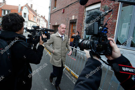 National Front Henin-Beaumont mayor Steeve Briois arrives to vote in Henin-Beaumont, northern France, where far-right leader and presidential candidate Marine Le Pen will vote, during the first round of the French presidential election