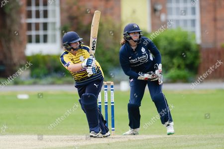 Charlotte Taylor of Hampshire batting during the ECB WOMEN'S County Championship pre-season friendly match between Hampshire CCC Women and Middlesex CCC Women at Hartley Wintney Cricket Club, Hartley Wintney