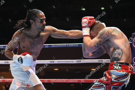 Stock Picture of Dominic Felix (white shorts) defeats Mitch Mitchell during a Boxing Show at The Deco on 21st April 2017