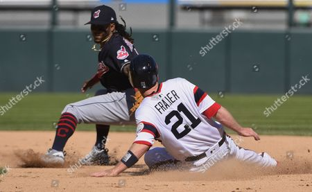 Todd Frazier, Michael Martinez Chicago White Sox's Todd Frazier (21) steals second base as Cleveland Indians second baseman Michael Martinez (1) misses the tag during the seventh inning of a baseball game in Chicago on