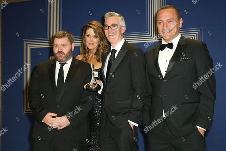 Stock Picture of L-R: Paul Murray, Peta Credlin, David Speers and Kieran Gilbert pose with the Logie Award for 'Most Outstanding News Coverage' for 'Sky News Election Coverage 2016'.