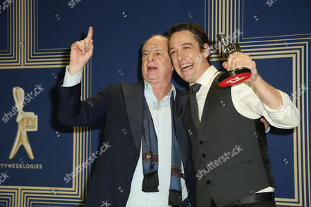 Samuel Johnson, poses with the Logie Award for 'Best Actor' for Molly (Channel Seven) with Michael Gudinski.