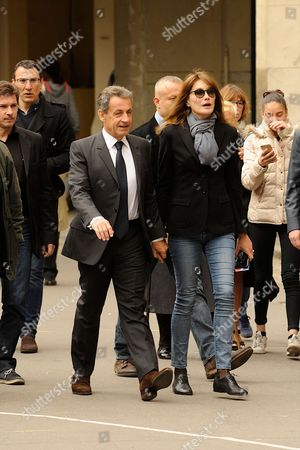 First round of the Presidential election. Former French LR les Republicains, President Nicolas Sarkozy with his wife Carla Bruni-Sarkozy and 16th arrondissement mayor of Paris Claude Goasguen at Polling Station 16th district, Paris