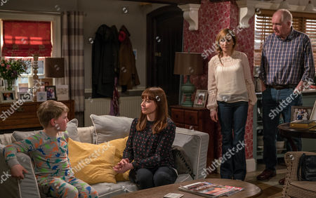 Stock Image of Doug Potts, as played by Duncan Preston, and Laurel Thomas, as played by Charlotte Bellamy, are worried why Arthur Thomas', as played by Alfie Clarke, avoiding school and after hearing their conversation, Lydia, as played by Karen Blick, offers to give the youngster some bereavement counselling. Slightly reticent, they agree to give it a go but midway through the session, Lydia gets a shock. (Ep 7816 - Thur 4 May 2017)