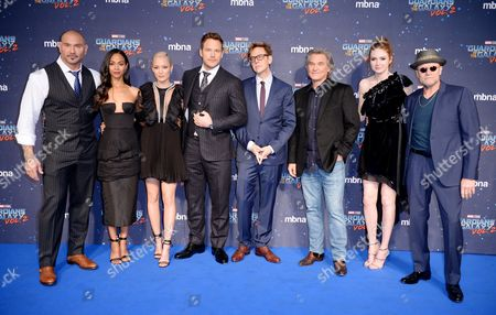 Stock Image of David Bautista, Zoe Saldana, Pom Klementieff, Chris Pratt, James Gunn, Kurt Russell, Karen Gillan and Michael Rooker