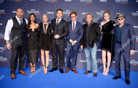 David Bautista, Zoe Saldana, Pom Klementieff, Chris Pratt, James Gunn, Kurt Russell, Karen Gillan and Michael Rooker