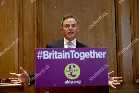 UK Independence Party deputy leader Peter Whittle speaks during the party's policy announcement press conference for Britain's upcoming general election at a hotel in London