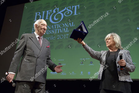 The director and actor Giuliano Montaldo receives the prize Federico Fellini Platinum Award from the director Margarethe Von Trotta