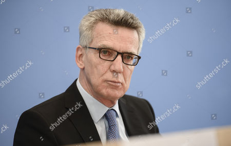 German Interior Minister Thomas de Maiziere during a joint press conference with Saxony State Minister of the Interior, Markus Ulbig (not pictured), on the report on police crime statistics 2016  in Berlin, Germany, 24 April 2017.