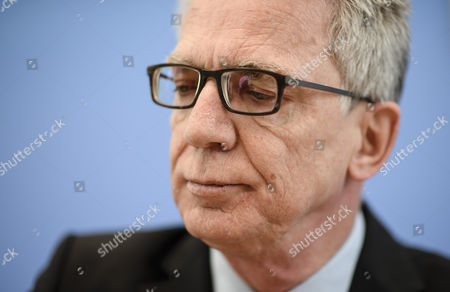 German Interior Minister Thomas de Maiziere arrives for a joint press conference with Saxony State Minister of the Interior, Markus Ulbig (not pictured), on the report on police crime statistics 2016  in Berlin, Germany, 24 April 2017.