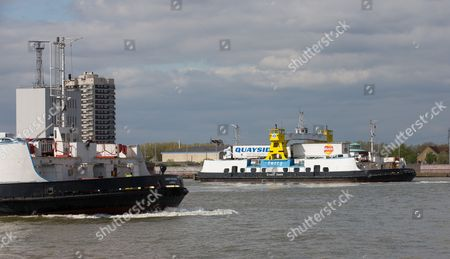 General View GV of The Woolwich Ferry (Ernest Bevin and James Newman). A free vehicle ferry service across the River Thames in East London, connecting Woolwich to the south with North Woolwich to the north.