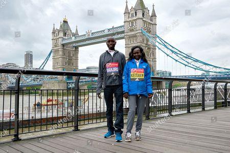Stock Photo of Daniel Wanjiru (Elite Mens Winner) and Mary Keitany (Elite Women's Winner)