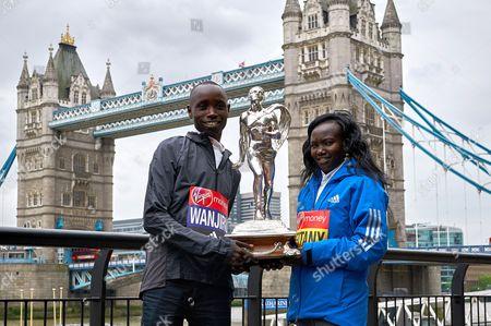 Stock Picture of Daniel Wanjiru (Elite Mens Winner) and Mary Keitany (Elite Women's Winner)