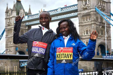 Stock Image of Daniel Wanjiru (Elite Mens Winner) and Mary Keitany (Elite Women's Winner)