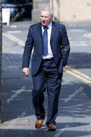Stock Photo of Former Rangers player and manager Ally McCoist arrives back at the court after lunch.