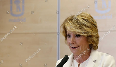 Popular Party leader in Madrid, Esperanza Aguirre during the press conferend held in Madrid, Spain, 24 April 2017 to announce her resignation. Esperanza Aguirre, the former head of the regional government of Madrid and for three decades a leading figure in the party, has resigned due to the arrest of her right-hand man and her successor as regional president between 2012 and 2015, Ignacio Gonzales during the Lezo anticorruption operation.