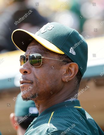 Oakland Athletics assistant Rickey Henderson before a baseball game between the Athletics and the Texas Rangers in Oakland, Calif